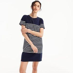 J. Crew blue nautical stripe t-shirt shift dress